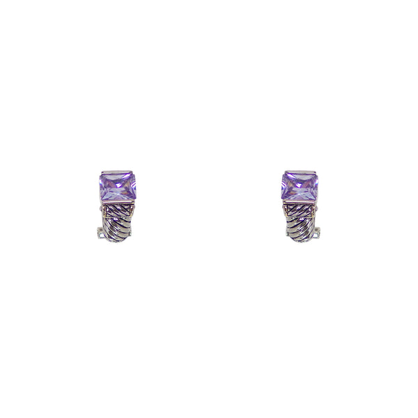 Designer Inspired Light Lavender Square Cut Stone Hugging Earrings