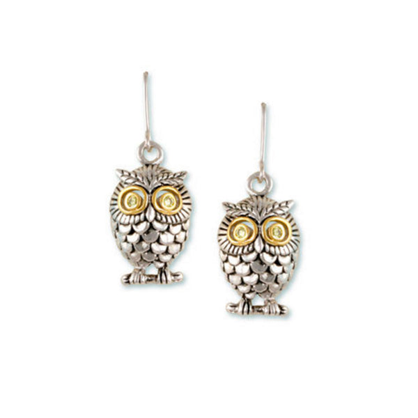 Owl Two Tone Earrings With Peridot CZ Eyes