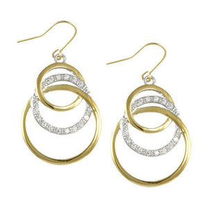 Two tone interlocking earrings on french