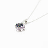 Mystic Topaz Cushion Cut Rainbow CZ Necklace With Micro Pave Border