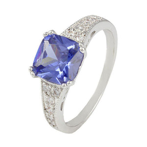 Simulated Tanzanite Pave Ring