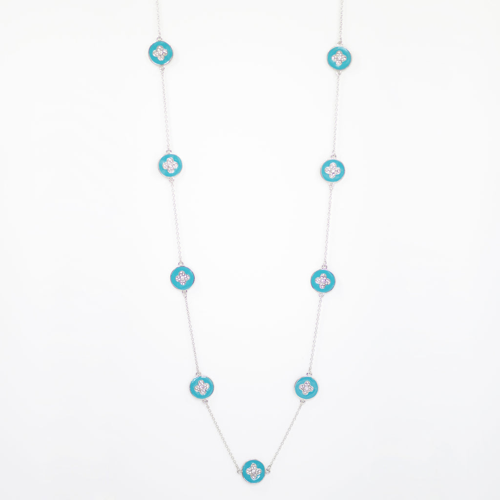"Designer Inspired 36"" Teal Enamel Alhambra Clover Necklace in Rhodium Finish"