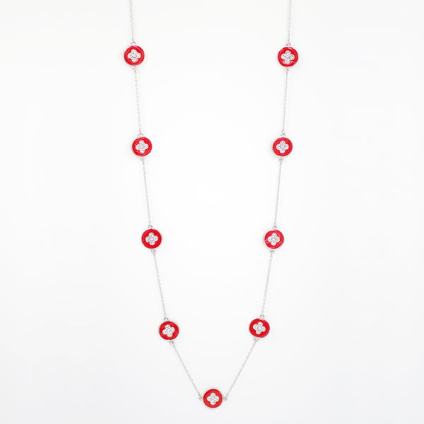 "Designer Inspired 36"" Red Enamel Alhambra Clover Necklace in Rhodium Finish"