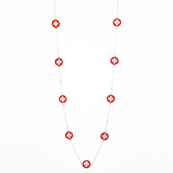 "Designer Inspired 36"" Red Enamel Alhambra Clover Necklace in Gold Finish"