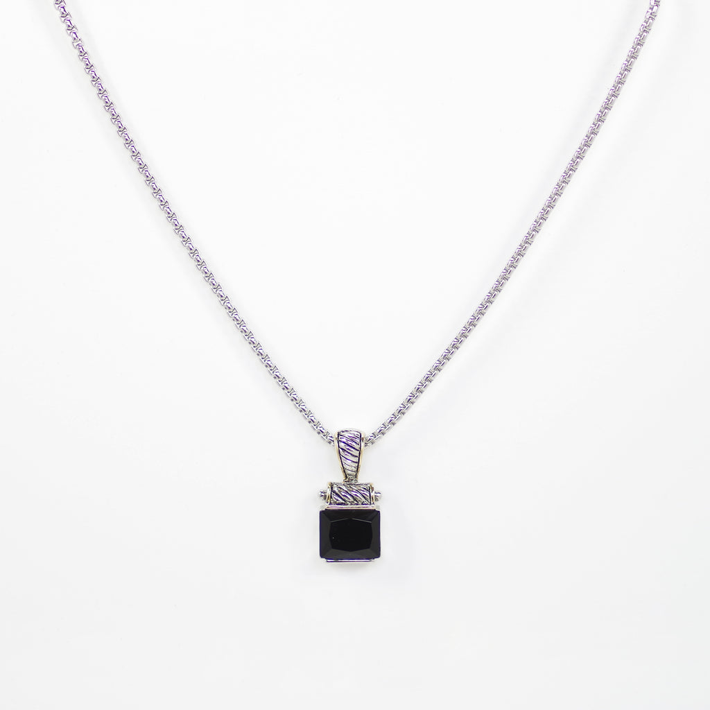 Designer Inspired Square Cut Black Onyx CZ Pendant Necklace