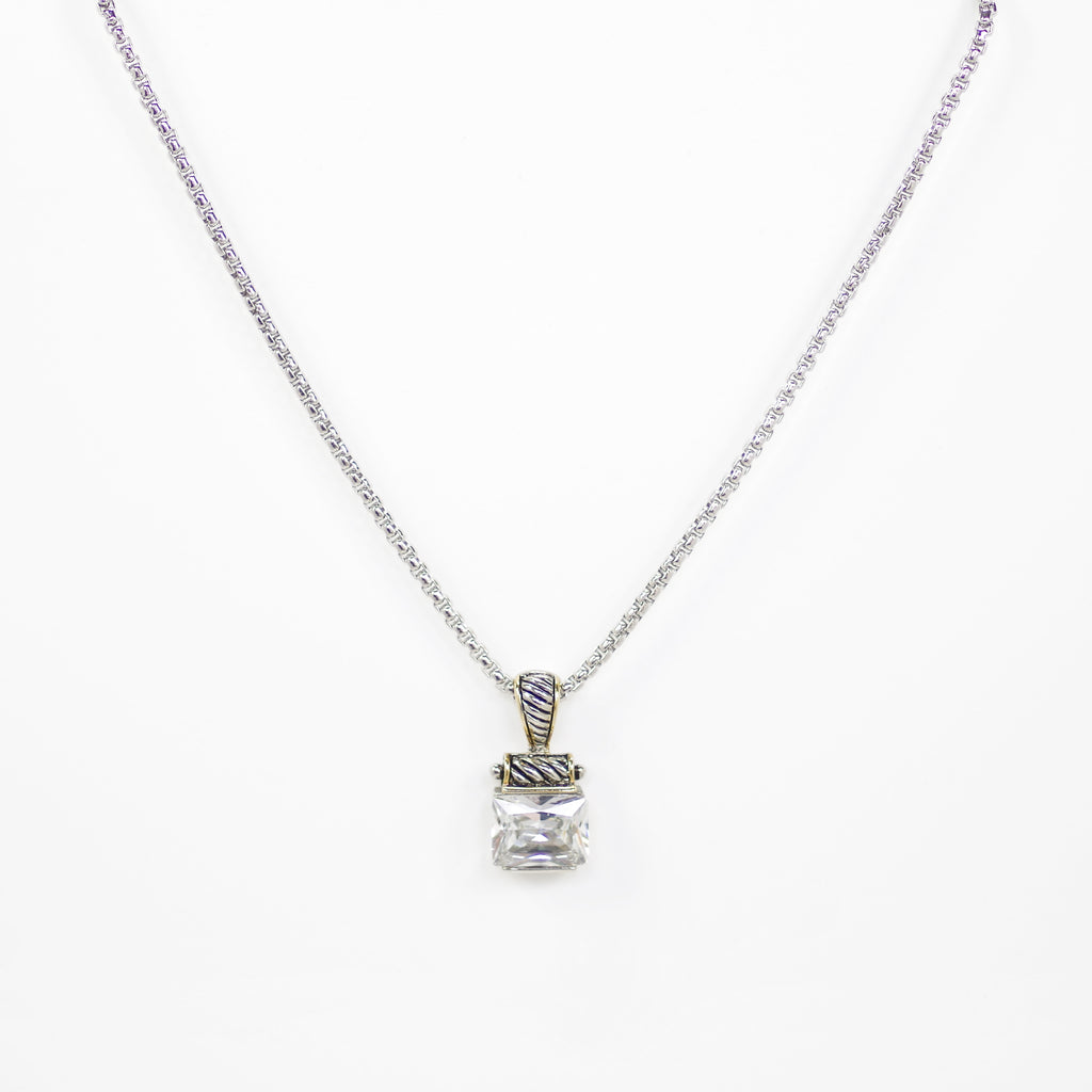 Designer Inspired Square Cut Clear CZ Pendant Necklace