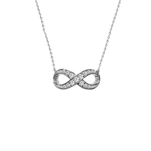Classic Pave CZ Infinity Necklace in Rhodium
