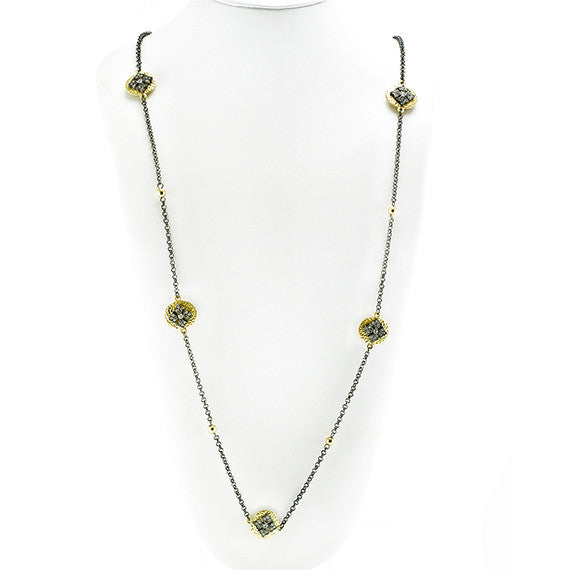 "Designer Inspired 36"" Hematite and Hammered Gold Necklace"