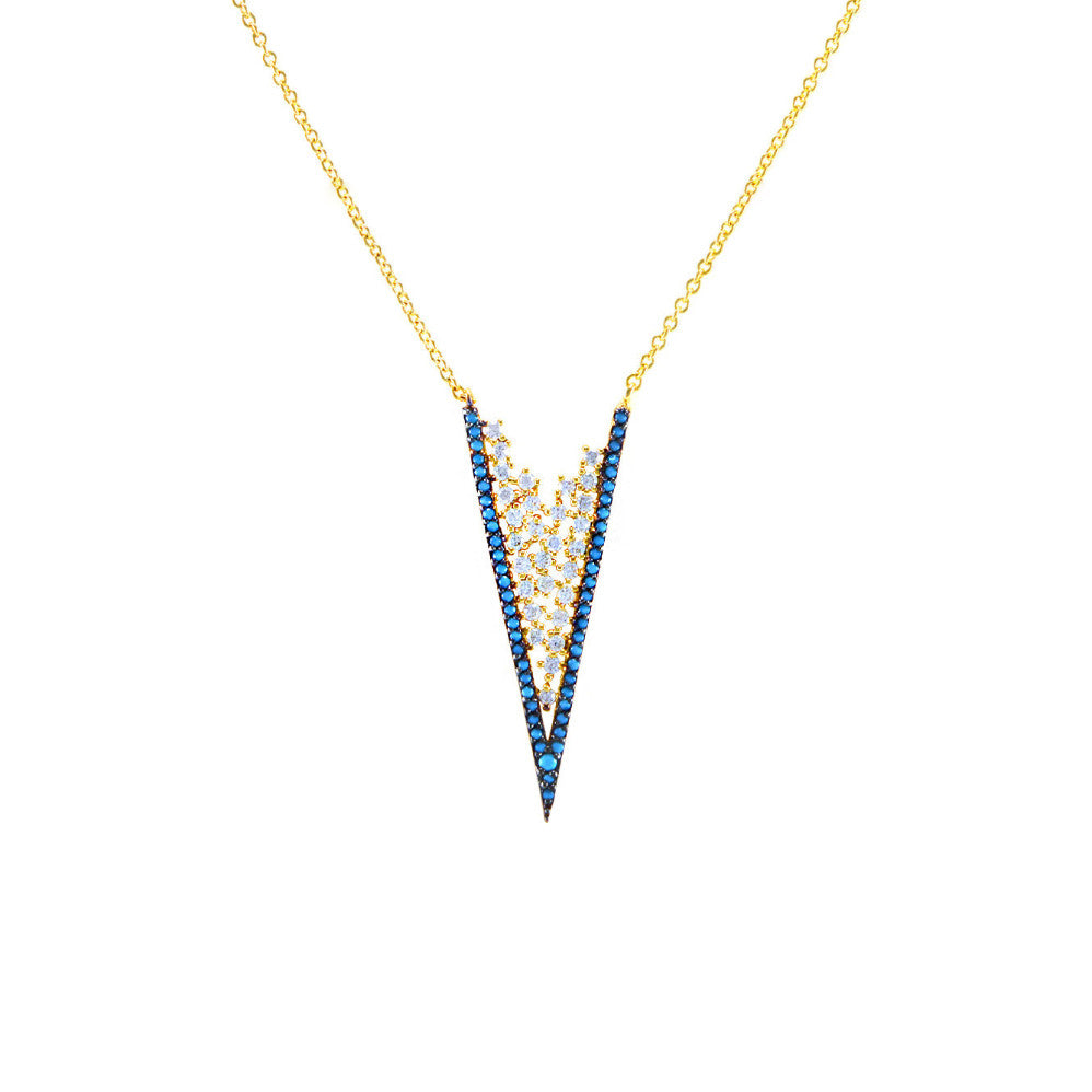 Gold V Necklace with Turquoise Blue CZ Stones