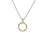 Designer Inspired Gold Station Circle Link Pendant