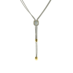 Designer Inspired Pave Double Chain Pendant Necklace