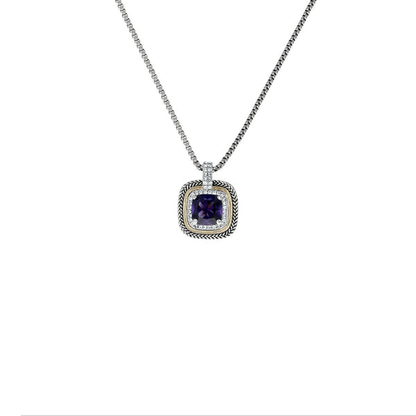 Designer Inspired Amethyst Cushion Cut Pendant Necklace with Pave Border