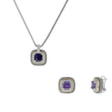 Designer Inspired Amethyst Cushion Cut with Pave Border 2 Piece Gift Set of Necklace and Earrings