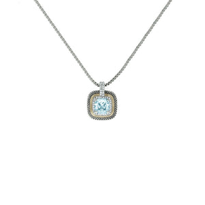 Designer Inspired Aqua Cushion Cut Pendant Necklace with Pave Border
