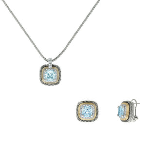 Designer Inspired Aqua Cushion Cut with Pave Border 2 Piece Gift Set of Necklace and Earrings