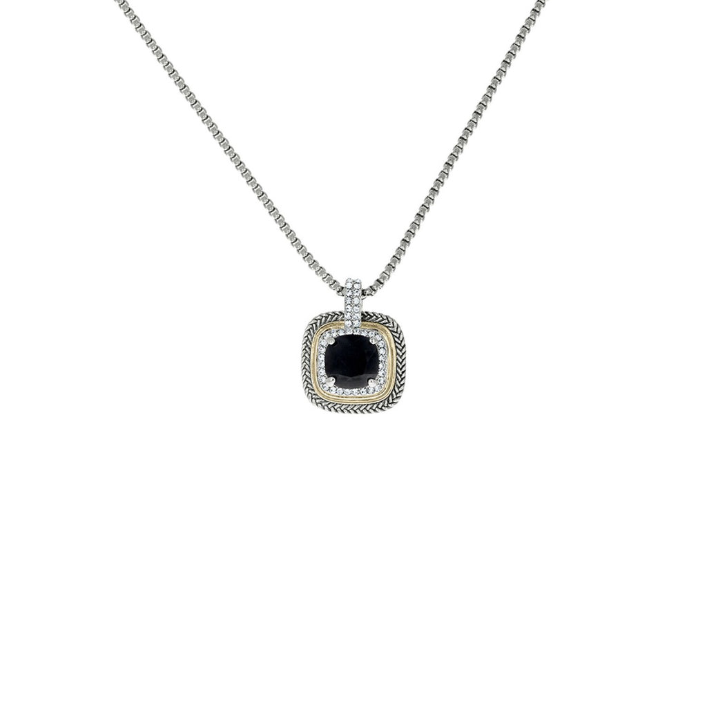 Designer Inspired Black Cushion Cut Pendant Necklace with Pave Border