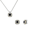 Designer Inspired Black Cushion Cut with Pave Border 2 Piece Gift Set of Necklace and Earrings