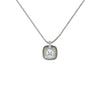 Designer Inspired Clear Cushion Cut Pendant Necklace with Pave Border