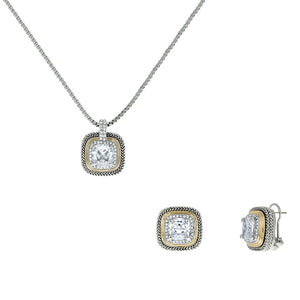 Designer Inspired Clear Cushion Cut with Pave Border 2 Piece Gift Set of Necklace and Earrings