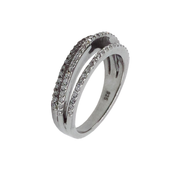 Micro Pave Three Stack Ring in Sterling Silver with Hematite Overlay