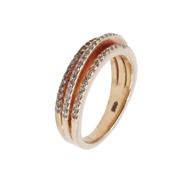 Micro Pave Three Stack Ring in Sterling Silver with Rose Gold Vermeil Overlay
