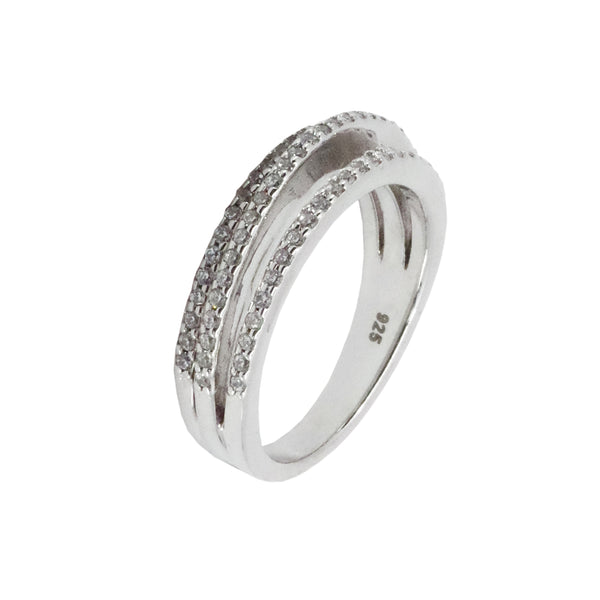 Micro Pave Three Stack Ring in Sterling Silver with Rhodium Overlay