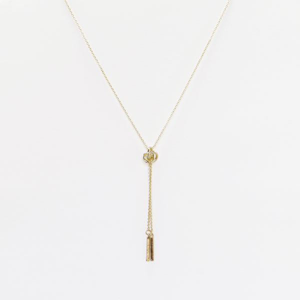 "Designer Inspired Gold Knot Necklace With Tassels on an 18"" Chain"