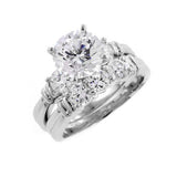 Two Ring Wedding Set in Silver with 9mm Round Cut Cubic Zirconia (CZ) Solitaire