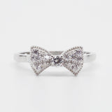 Pave Bow Ring in Platinum Clad Sterling Silver