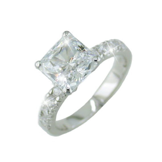 Princess Cut 1.25 CT Cubic Zirconia Solitaire Ring with Accents