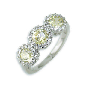 Triple Set Canary Yellow Cubic Zirconia (CZ) Sterling Silver Ring