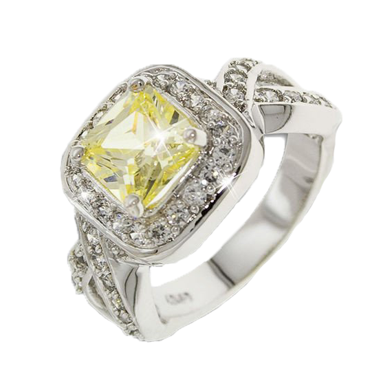 Canary Yellow Silver Ring