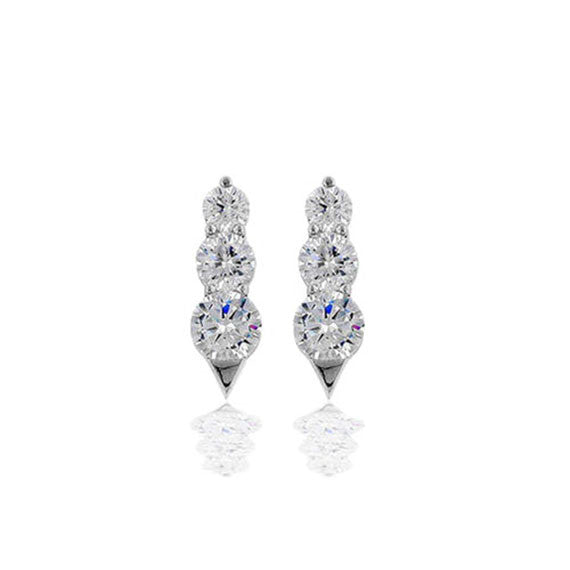 Past, Present, Future Sterling Silver Graduated CZ Pendant Earrings