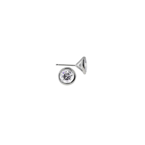 Bezel Set 3/4 CT CZ Stud Earrings