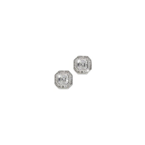 Vintage Inspired Square Cut CZ Stud Earrings with Pave Border in Sterling Silver