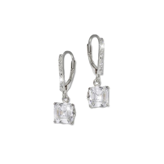 Asscher Cut Silver Drop Earrings