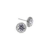 Halo 2.5 CT CZ Round Silver Earrings