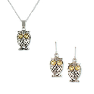 Owl With Peridot CZ Eyes 2 Piece Gift Set of Necklace and Earrings