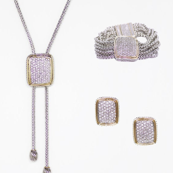 Pave 3 Piece Gift Set of Lariat Necklace, Bracelet and Earrings