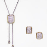 Pave 2 Piece Gift Set of Lariat Necklace and Earrings