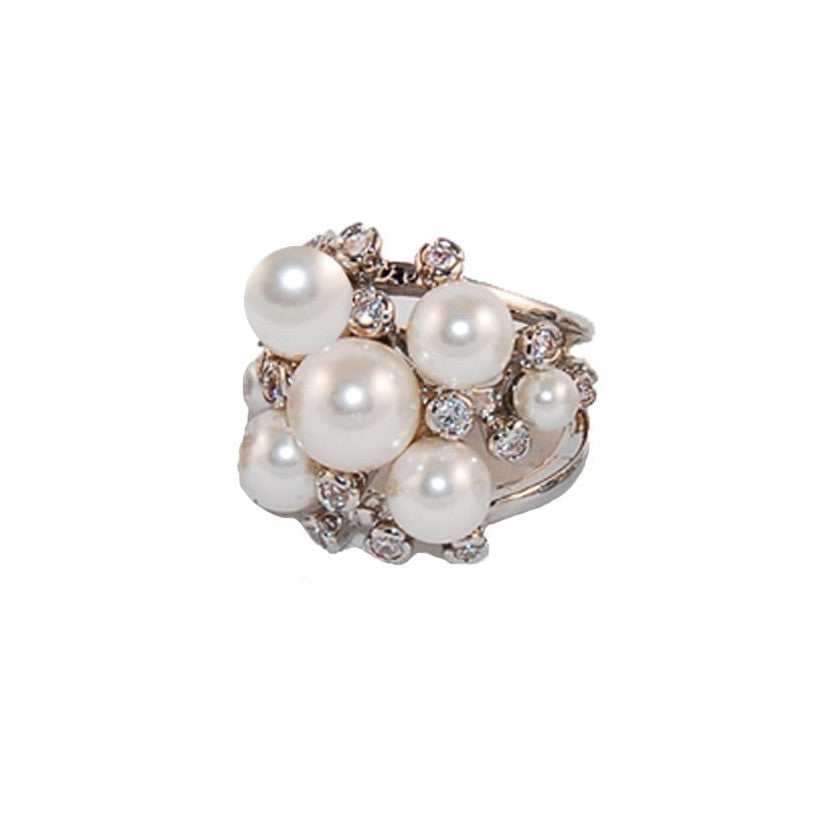 White Pearl Bauble Ring in Rhodium with Scattered CZ Accents