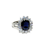 Sapphire Blue Princess Cut Halo Ring in Rhodium