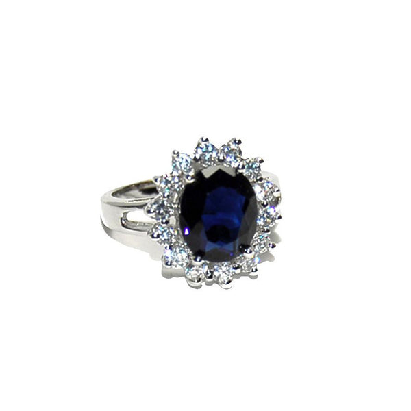Sapphire Princess Cut Halo Ring in Rhodium