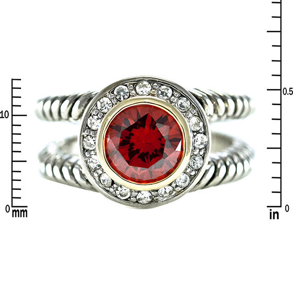 Designer Inspired Split Shaft Ruby Ring