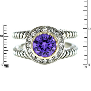 Designer Inspired Split Shaft Amethyst Ring
