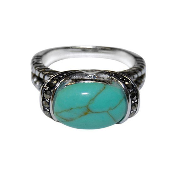 Designer Inspired Split Shaft Turquoise Ring