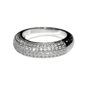 Pave 1/2 Eternity Band in Rhodium