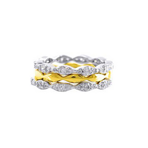 Three Stackable Pave Bands in Rhodium and Gold