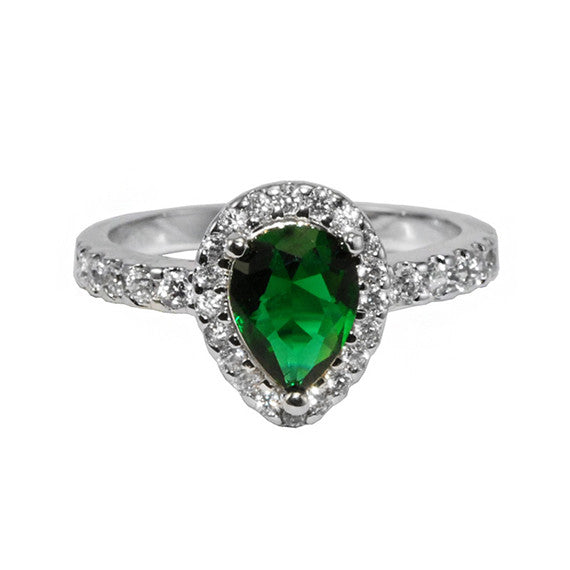 Emerald Pear Shaped Ring