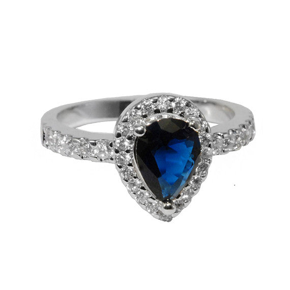 Sapphire Pear Shaped Ring